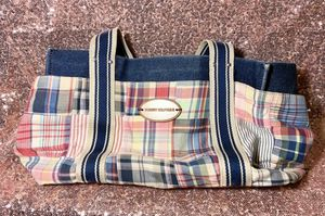 Tommy Hilfiger Handbag Purse Picnic Plaid Red Green Blue Tote Bag Wood Brand tag for Sale in Watertown, CT