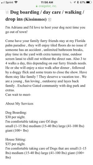 Dog boarding / house sitting / day camp for Sale in Kissimmee, FL