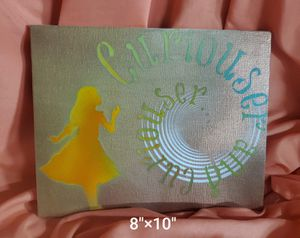 """Handmade Alice in Wonderland Silhouette w/ """"Curiouser"""" Quote Canvas Art 8""""×10"""" for Sale in Port St. Lucie, FL"""