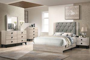 Bedroom 4 pcs set Queen bed +Nightstand +Dresser +Mirror for Sale in Bell Gardens, CA