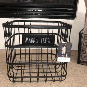 "Rae Dunn ""MARKET FRESH"" Wire Large BasketStorage/Farmhouse/NWT Black Basket for Sale in Stockton, CA"