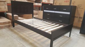 TWIN SIZE Wood Platform Bed with Headboard / No Box Spring Needed / Wood Slat Support, Cappuccino|SKU# 7582T-CP for Sale in Santa Ana, CA
