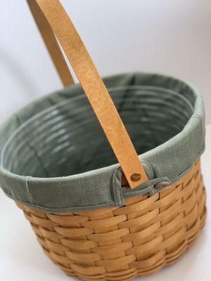 Longaberger basket with sage green liner for Sale in Hamilton, OH