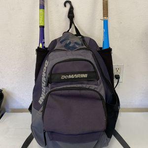 Demarini Softball Backpack Baseball Side Bat Holder for Sale in Fontana, CA