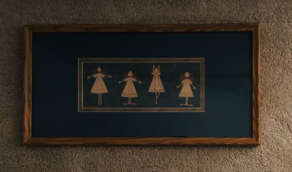 Ballerina Angels Photo Matted and Framed under Glass by Warren Kimble. 23 inches wide by 12 inches tall.