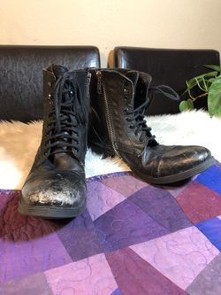 Steve Madden Troopa Black Leather Zip Lace Combat Military Boots Womens Sz 13 M for Sale in North Las Vegas,  NV