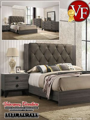 **BRAND NAME** BEDROOM SET BED+DRESSER+MIRROR+NIGHTSTAND (mattress not included) $548 for Sale in Pomona, CA
