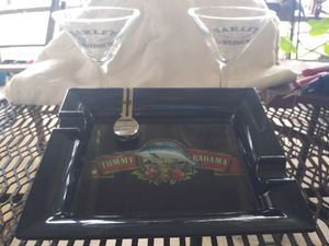 2 Harley Davidson martini glasses and a Tommy Bahama cigar ashtray for Sale in Seadrift, TX
