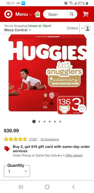 Huggies diapers size 3 for Sale in Mesa, AZ