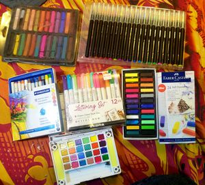 Assortment of almost entirely unused art supplies! And nice hardback sketch book. for Sale in Bonney Lake, WA