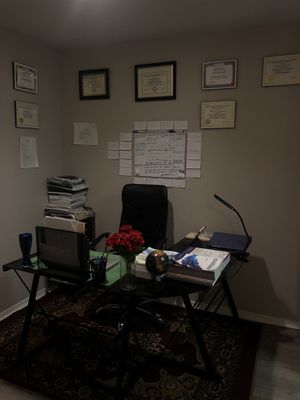 A glass black office with a chair and a drawer rolling storage for Sale in Bellevue, TN
