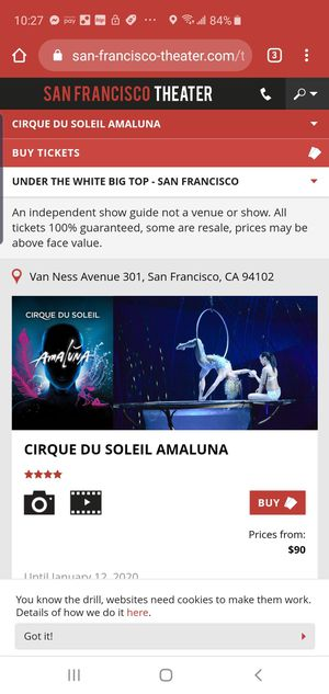 Amaluna tickets today at 130 for Sale in San Jose, CA