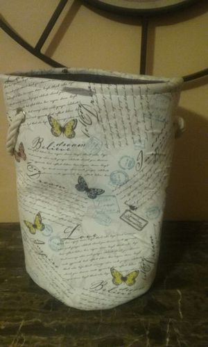 Cloth storage container with butterflies & inspirational words for Sale in Montgomery, AL