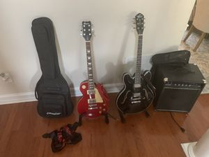 2 guitar 1 new Washburn and 1 new Rew, also a new acoustic amp and 2 guitar stands, with a gig bag. brand new I tried to learn how to play and couldn for Sale in Roswell, GA