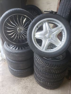 18 inch brushed silver rims n tires. for Sale in Groveport, OH