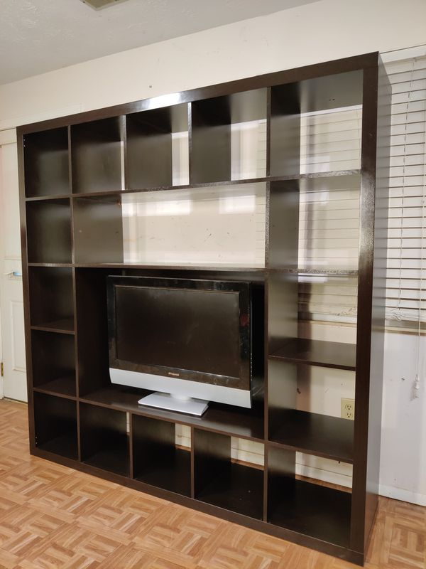 "Nice TV stand/entertainment center with many shelves in good condition, we can take it part for easy pickup, driveway pickup. L72""*H72"""