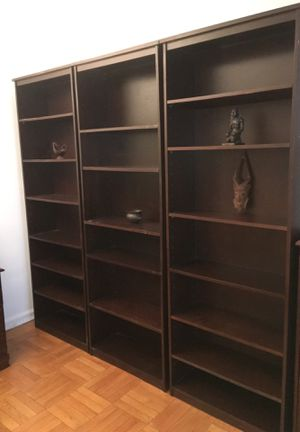 THREE BOOKSHELVES SET. CHOCOLATE COLOR ADJUSTABLE SHEVES for Sale in New York, NY