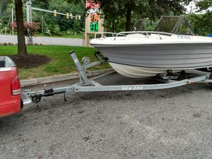 1999 19 foot angler open bow boat motor and trailer for Sale in Bowie, MD