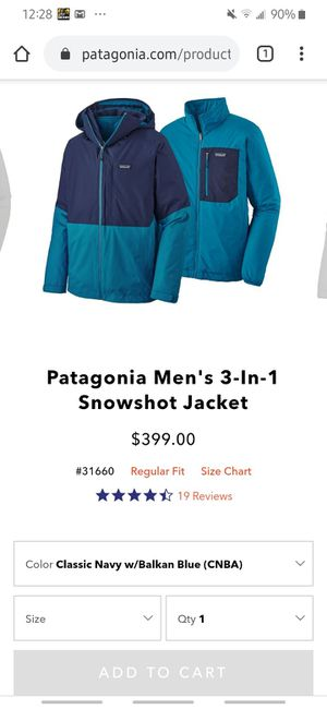Patagonia mens 3-in-1 snowshot jacket for Sale in Brooklyn, NY