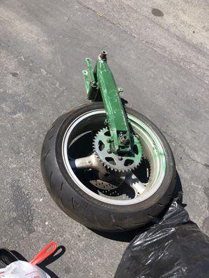 Kawasaki ninja 600 rear enkei rim tire swing arm for Sale in Stockton, CA