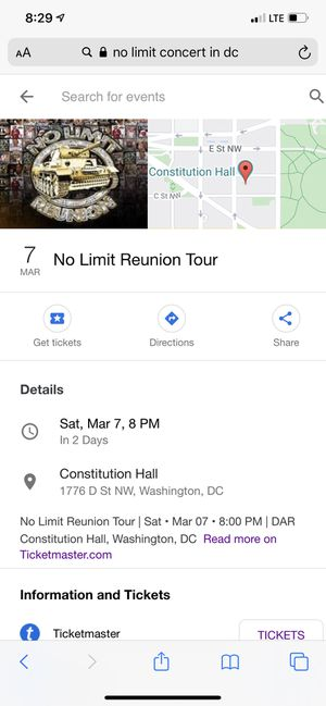 2 No Limit Mr. P tickets! I had a death in my family and can't attend this concert. $160 for 2 tickets for Sale in Washington, DC