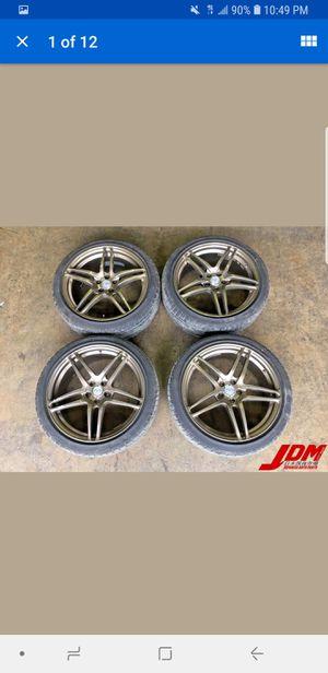 Used JDM Advan AVS Model 5 5x100 18x7.5 +48 ET Wheels Rims With Tires for Sale in Atlanta, GA