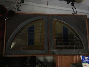 Antique stained glass in a frame for Sale in Tampa, FL