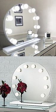 "New in box $170 Round 28"" Vanity Mirror w/ 10 Dimmable LED Light Bulbs, Hollywood Beauty Makeup USB Outlet for Sale in Downey, CA"