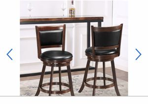 """Set of 2 24"""" Swivel Counter Stool Wooden Dining Chair Upholstered Seat Espresso for Sale in Hacienda Heights, CA"""
