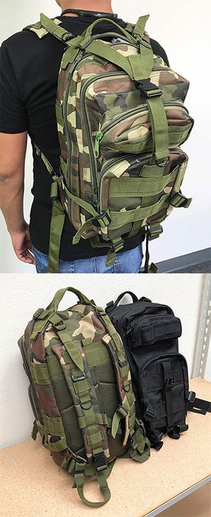 Brand new $15 each 30L Outdoor Military Tactical Backpack Camping Hiking Trekking (Black/Camouflage) for Sale in Montebello, CA