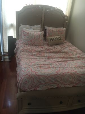 Bed frame , queen - memory form - firm mattress from bobs furniture for Sale in Jersey City, NJ