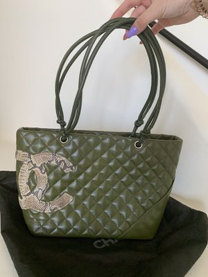 Chanel Cambon Olive Green Quilted Tote Bag for Sale in Scottsdale, AZ