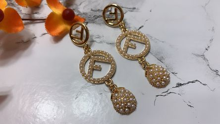 Gold Plated Pearl F Sign Geometric Round Pearl Earring for Sale in Los Angeles,  CA