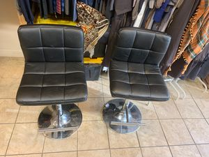 Two black leather stools for Sale in Washington, DC