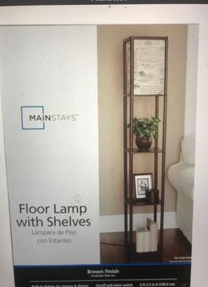 Floor lamps brown with shelf's and script shade. for Sale in Long Beach, CA