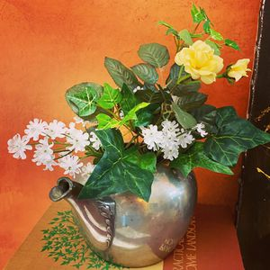 Rustic Farmhouse Floral Arrangement Home Decor Yellow Roses White Flowers with Green Ivy in Vintage Silver Plated Metal Teapot for Sale in Ringwood, IL