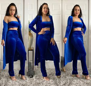 Royal Blue Velvet 3 Piece Outfit Set Available In Royal Blue 3 Piece Outfit Set High Waisted Pants Sleeveless Bandeau Top Long Open Front Cardigan L for Sale in Fairfield, CT