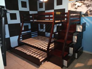 Bunk bed frame with storage for Sale in Houston, TX