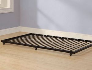 Black Metal Twin Bed Roll-Out Trundle Frame J1- 2141 for Sale in St. Louis, MO
