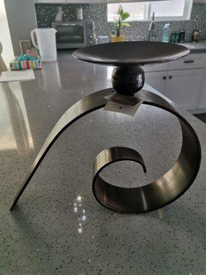 Heavy dark bronze modern sculpture candle holder for Sale in Phoenix, AZ