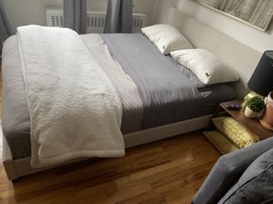 Queen fabric wrapped bed +- mattress for Sale in New York, NY