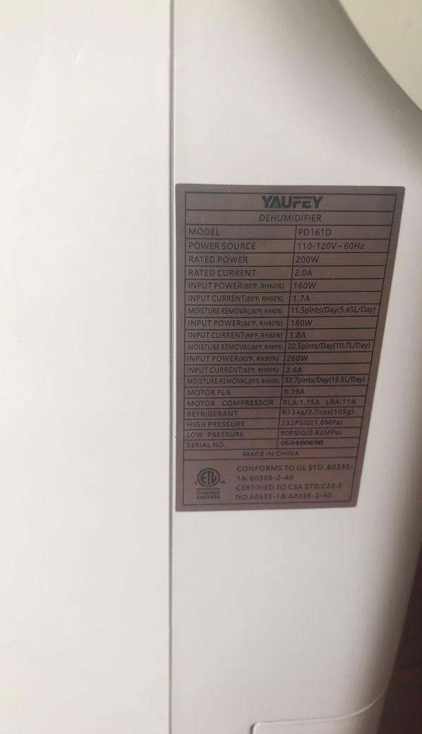 yaufey 30 Pint Dehumidifiers