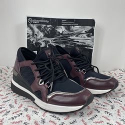 Michael Michael Kors Georgie Mixed Media Trainer Black And Burgundy Sz.6.5M for Sale in Peoria,  IL