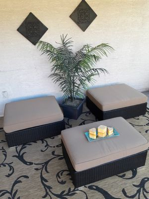 Ohana Patio Wicker Ottoman and Coffee Table for Sale in Avondale, AZ