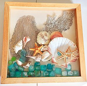 Collectible Scrap Shadow Box DIY Floating Beach Sea Fans Shells Starfish Blue Green Glass Ocean Cottage Coastal Decor Art for Sale in Coral Gables, FL