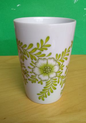 Vintage White Ceramic Cup with Green Fern And Flowers for Sale in Whittier, CA