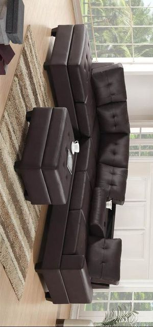 Carlsbad Espresso Faux Leather Reversible Sectional with Storage Ottoman for Sale in Plano, TX