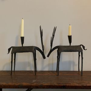 Vintage Primitive Cast Iron Reindeer Candle Holders for Sale in Ashburn, VA