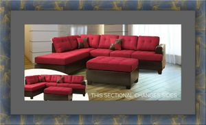Red sectional with ottoman for Sale in Alexandria, VA