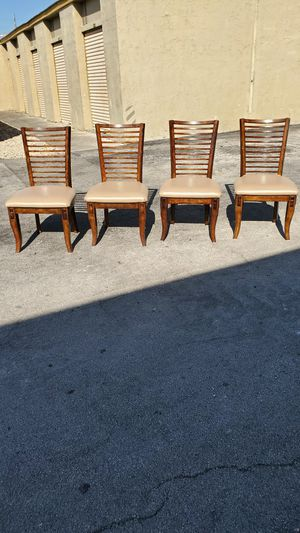 """Beautiful Solid Brazilian Wood & Leather High-Back Dining Chairs that are in Excellent condition! Dimensions: 20""""D x 22""""W x 20""""H(seat) 38""""H (Overall) for Sale in Delray Beach, FL"""